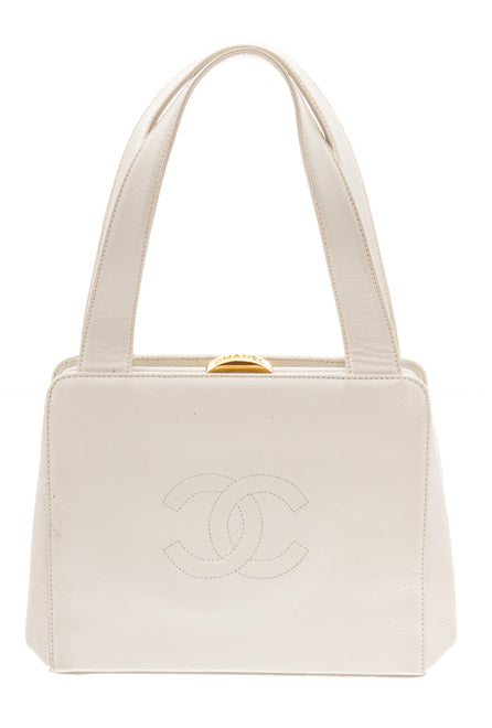 Chanel White Caviar Leather Gold Vintage Small Shoulder Bag