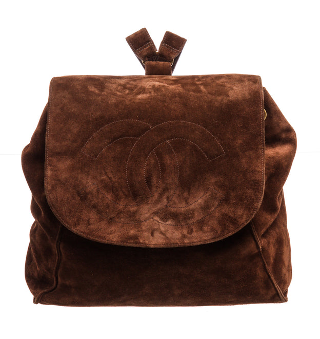 Chanel Brown Suede Medium Vintage Backpack