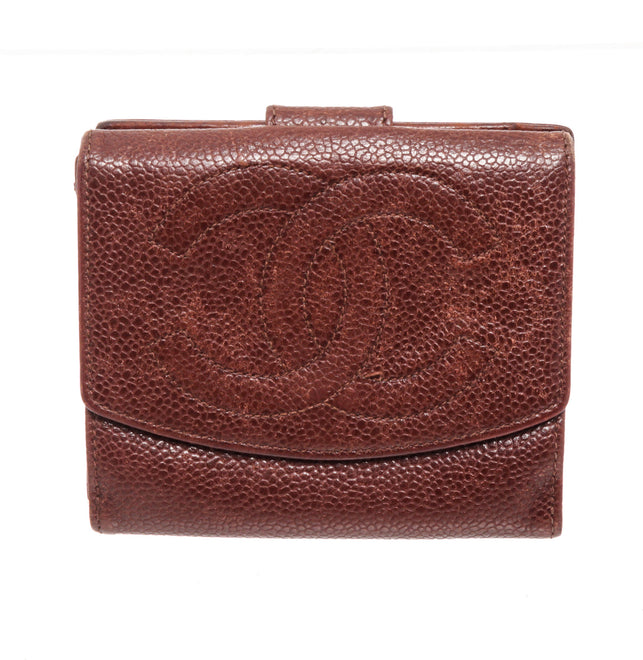 Chanel Brown Caviar Leather Compact Tab Wallet