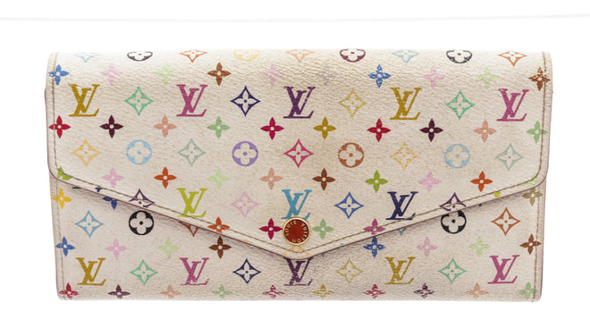 Louis Vuitton White Leather MC - 10 card Sarah NM Wallet