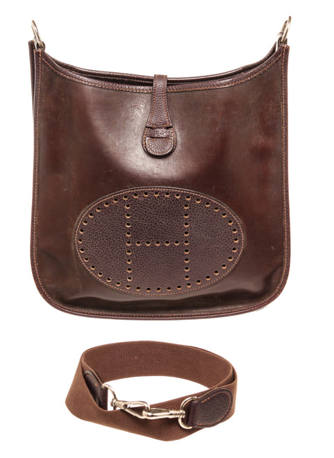 Hermes Brown Leather Evelyn PM Tote Bag