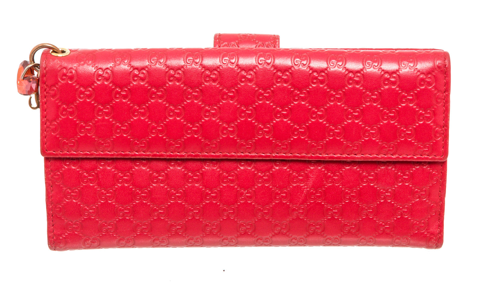 Gucci Red Guccissima Leather Long Tab Card Wallet
