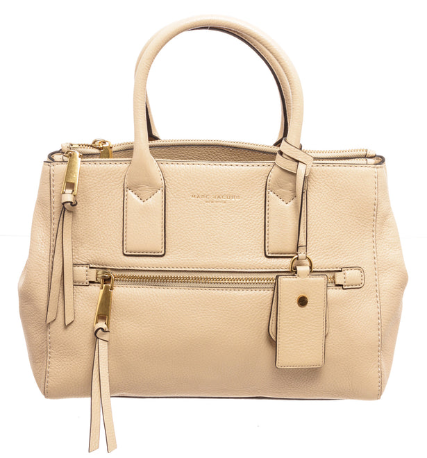 Marc Jacobs Beige Lambskin Leather Recruit East West Tote Bag