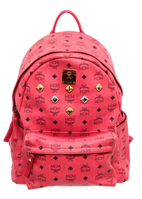 MCM Red Pink Leather Backpack