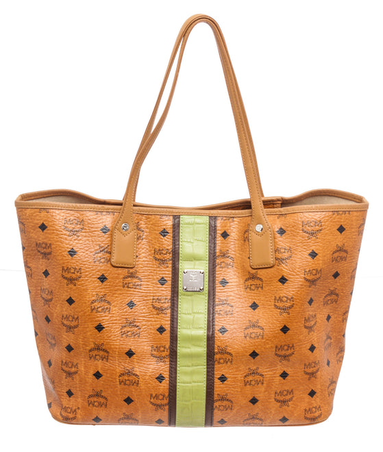 MCM Brown Coated Canvas Shopper Tote Bag