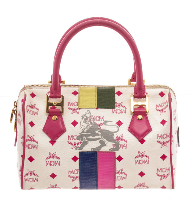 MCM White Pink Leather Tote Bag
