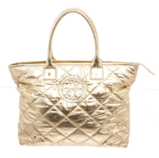 Tory Burch Patant Leather Gold Tote Bag