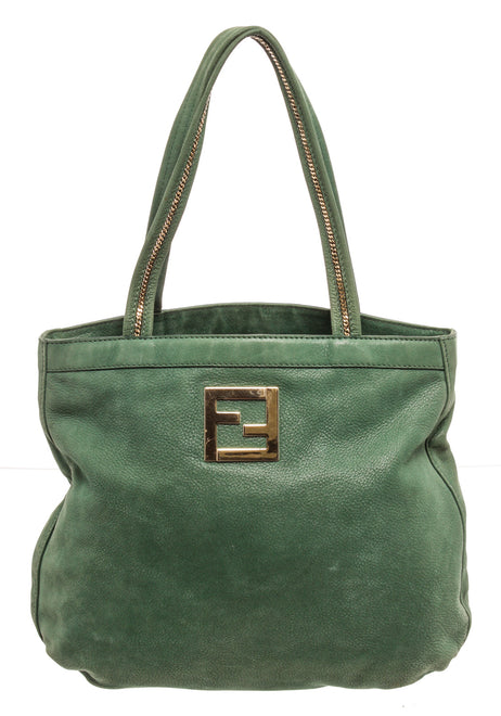 Fendi Green Leather Tote Bag