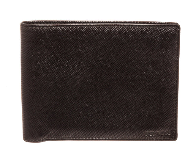 Prada Black Leather Compact Wallet