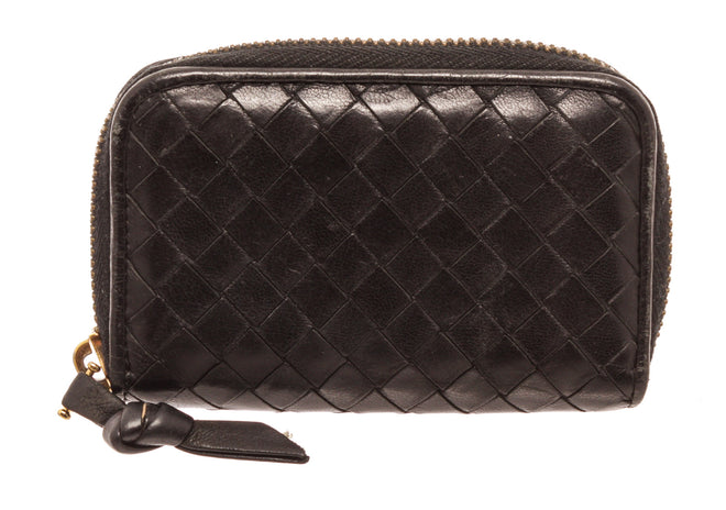 Bottega Venetta Black Leather Coin Purse Wallet