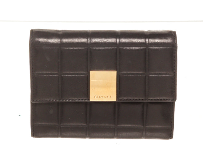 Chanel Black Canvas Leather Chocolate Bar Wallet