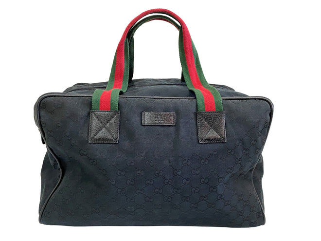 Gucci Black GG Canvas Duffle Bag Luggage Travel Tote Bag