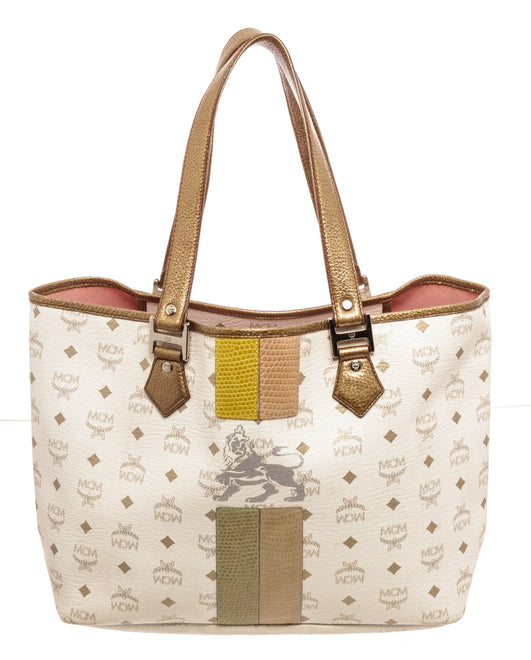 MCM White Visetos Lion Shopper Tote Bag