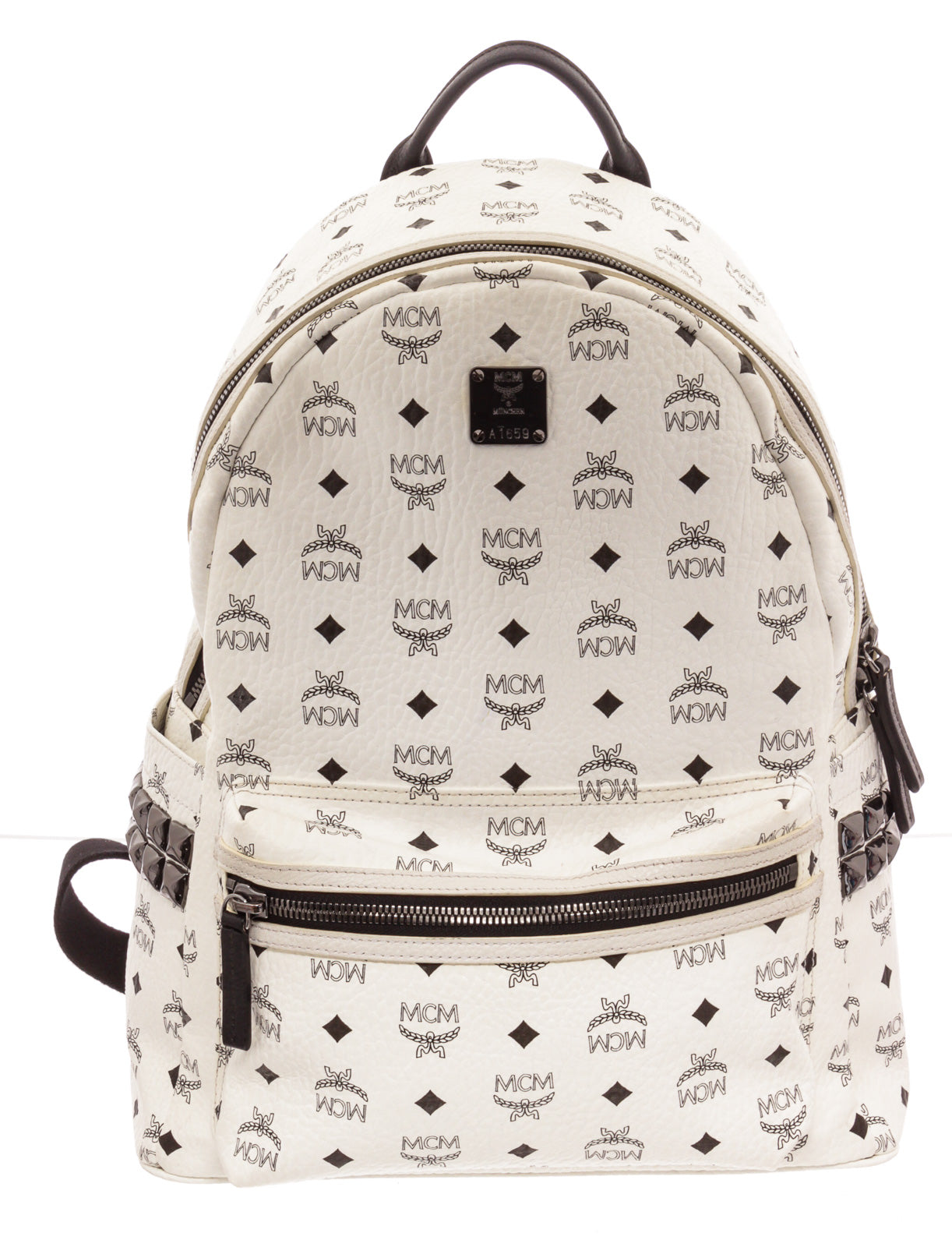 MCM White Black Stud Backpack