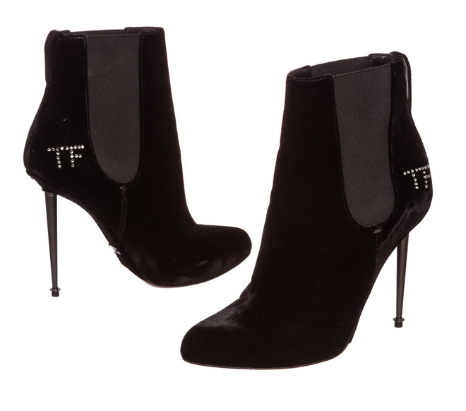 Tom Ford Black Velvet Spiked Boots Heels Shoes 39.5
