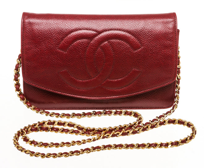 Chanel Burgundy Caviar Leather Wallet On Chain WOC Bag