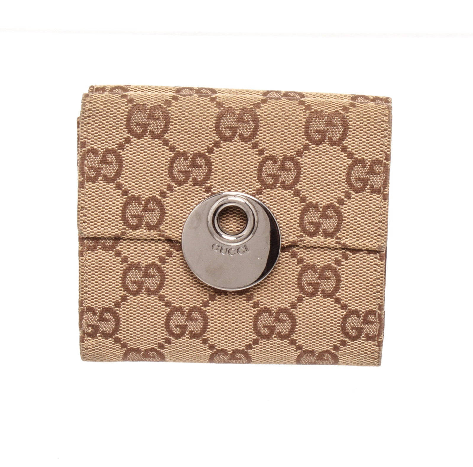 Gucci Beige Brown GG Canvas Leather Two Way Wallet