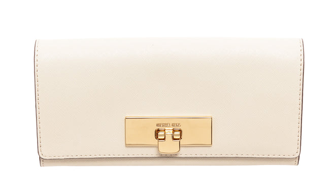 Michael Kors White Leather Callie Carry Wallet