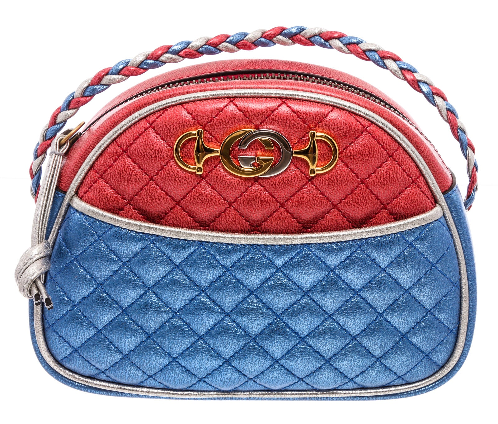 Gucci Red Blue Metallic Quilted Leather Mini Dome Trapuntata Crossbody Bag
