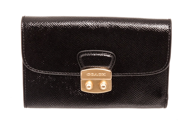 Coach Black Avary Leather Flap Wallet