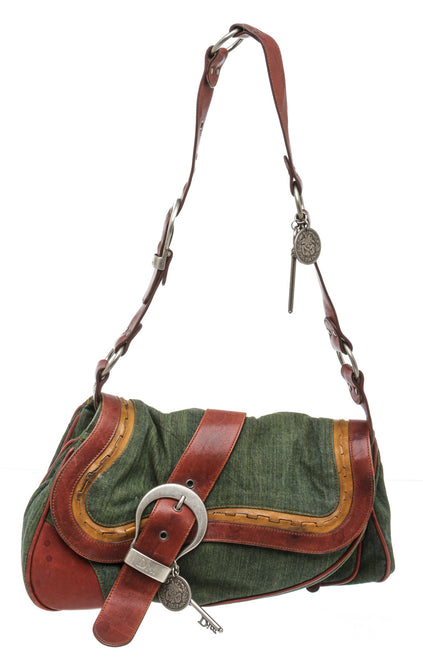 Christian Dior Green Denim Leather Gaucho Double Saddle Bag