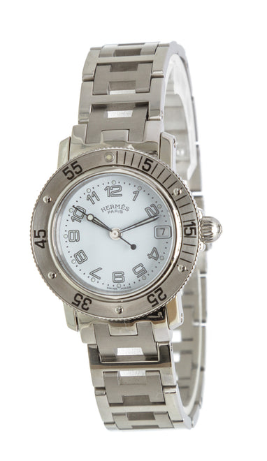Hermes Stainless Steel White Clipper Watch
