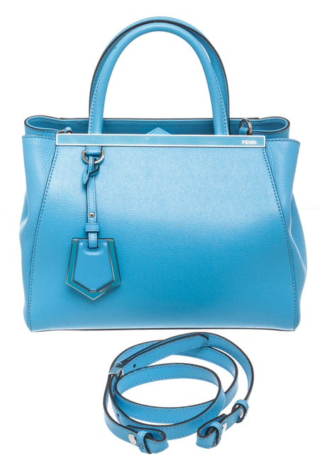 Fendi Blue Saffiano Leather Petite 2 Jours Tote Bag