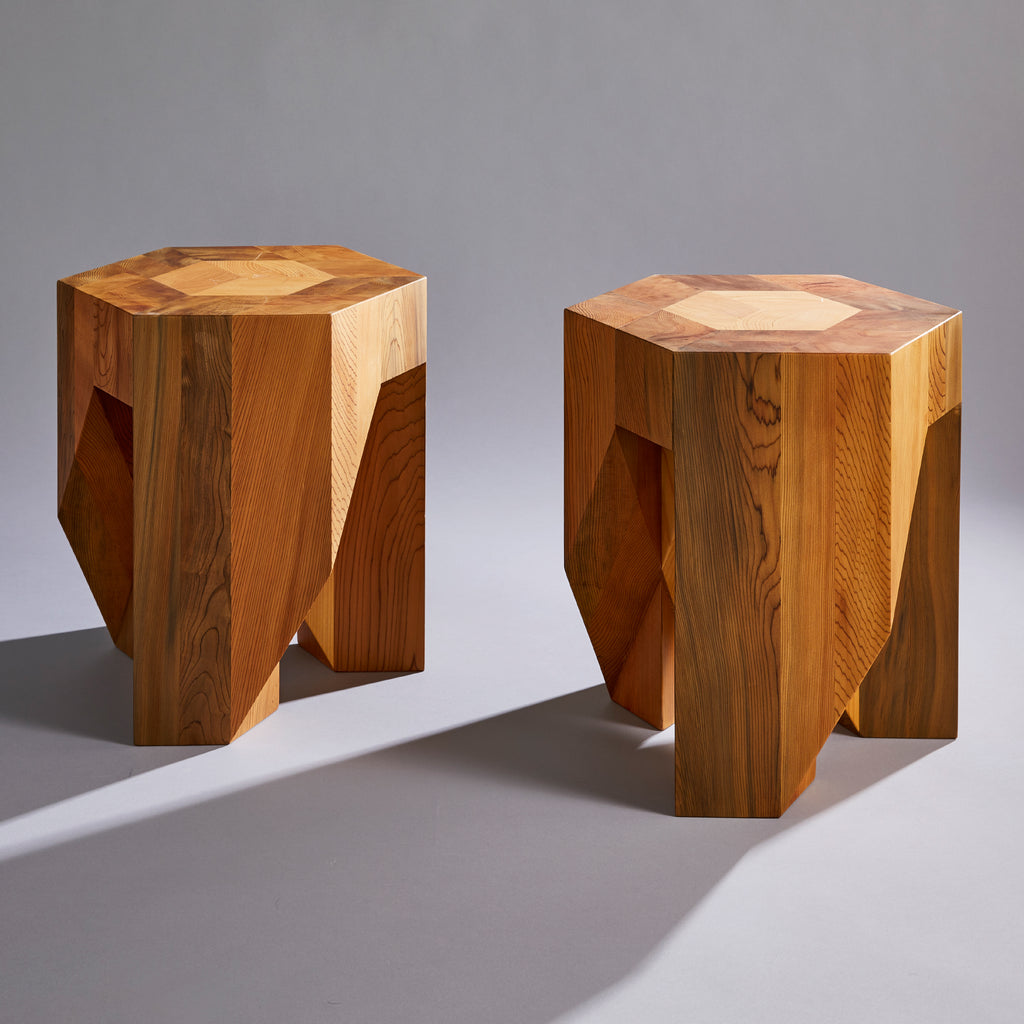Yosegi Pair Stool - Jindai Cedar Edition -Furniture-Yoshiaki Ito Design