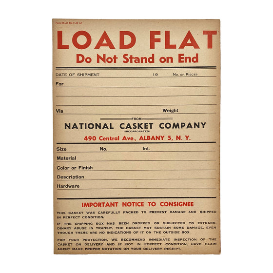 National Casket Company Albany Shipping Form