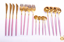 Load image into Gallery viewer, Pink Gold cutlery set