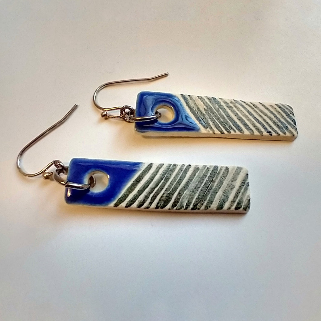 Ceramic Earrings with Blue Accents