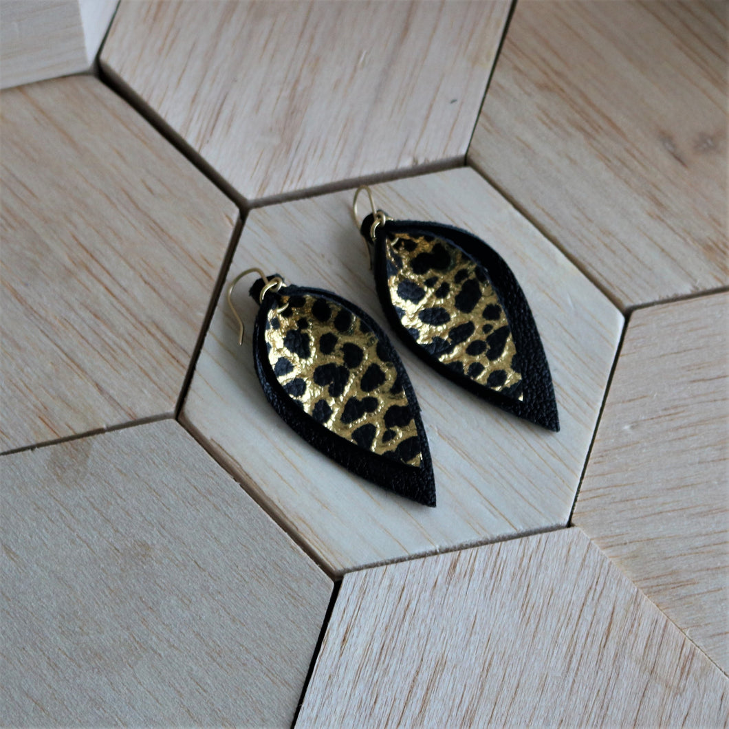 Black and Gold Dino Skin Layered Leather Earrings