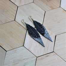 Load image into Gallery viewer, Slate Blue Grey Reclaimed Leather Feather Earrings, Silver Tips