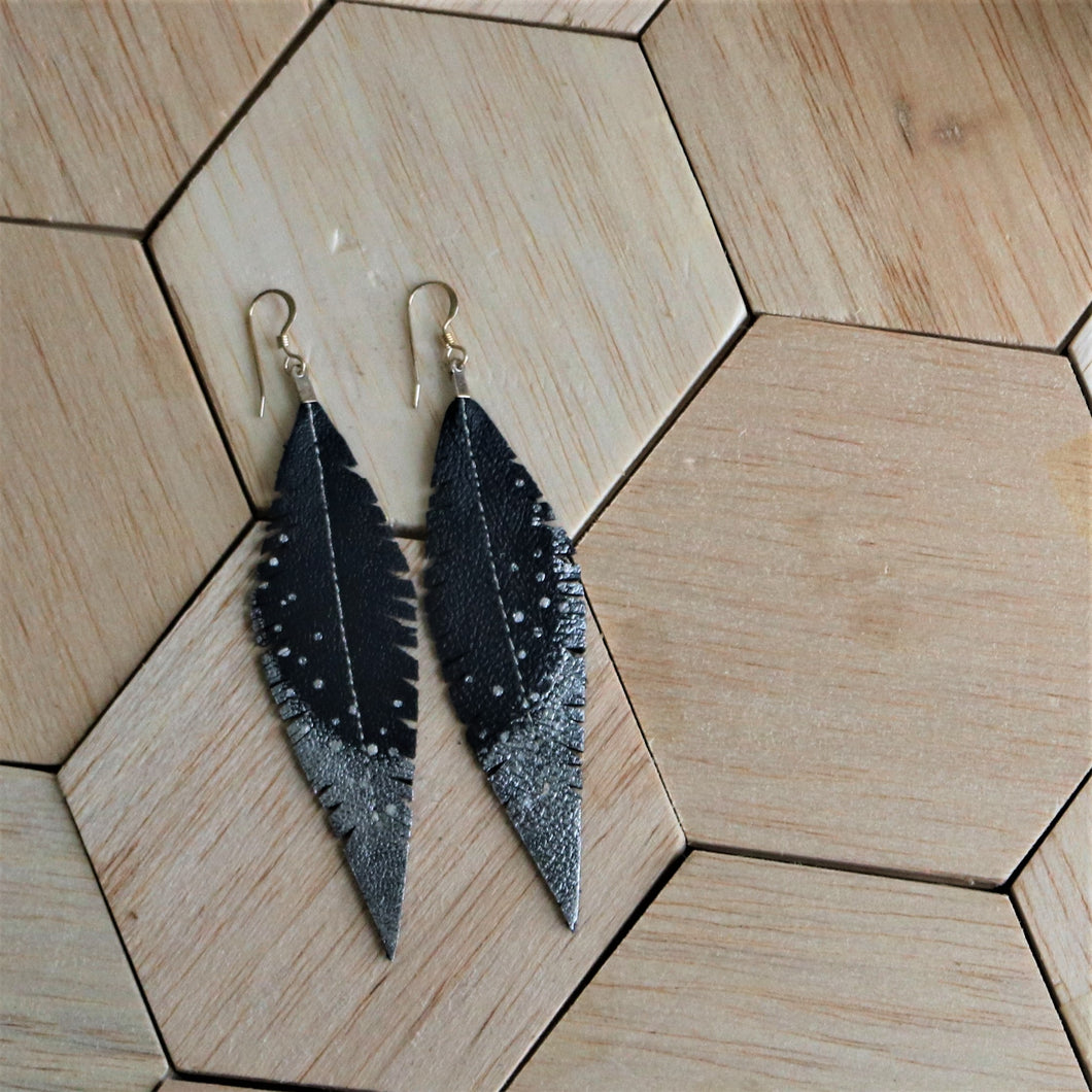 Slate Blue Grey Reclaimed Leather Feather Earrings, Silver Tips