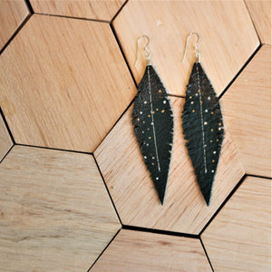 Deep Teal Reclaimed Leather Feather Earrings, Gunmetal Tops