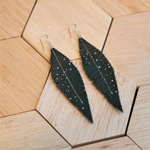 Load image into Gallery viewer, Deep Teal Reclaimed Leather Feather Earrings, Gunmetal Tops