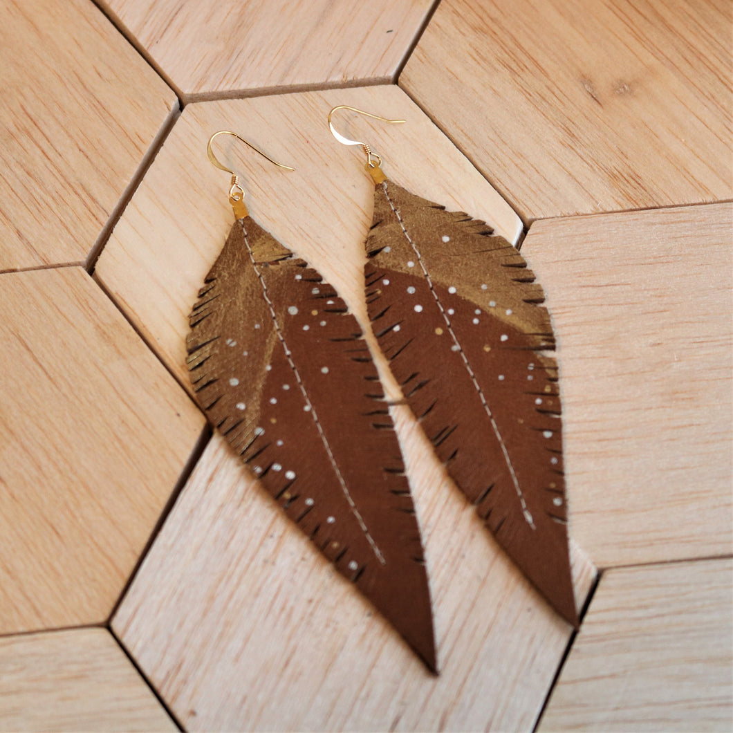 Long Saddle Brown Reclaimed Leather Feather Earrings, Gold Tops