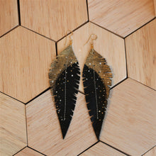 Load image into Gallery viewer, Long Black Reclaimed Leather Feather Earrings, Gold Tops