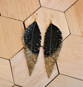 Long Black Reclaimed Leather Feather Earrings, Gold Tips