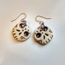 Load image into Gallery viewer, Day of the Dead Inspired Small Round Ceramic Skull Earrings