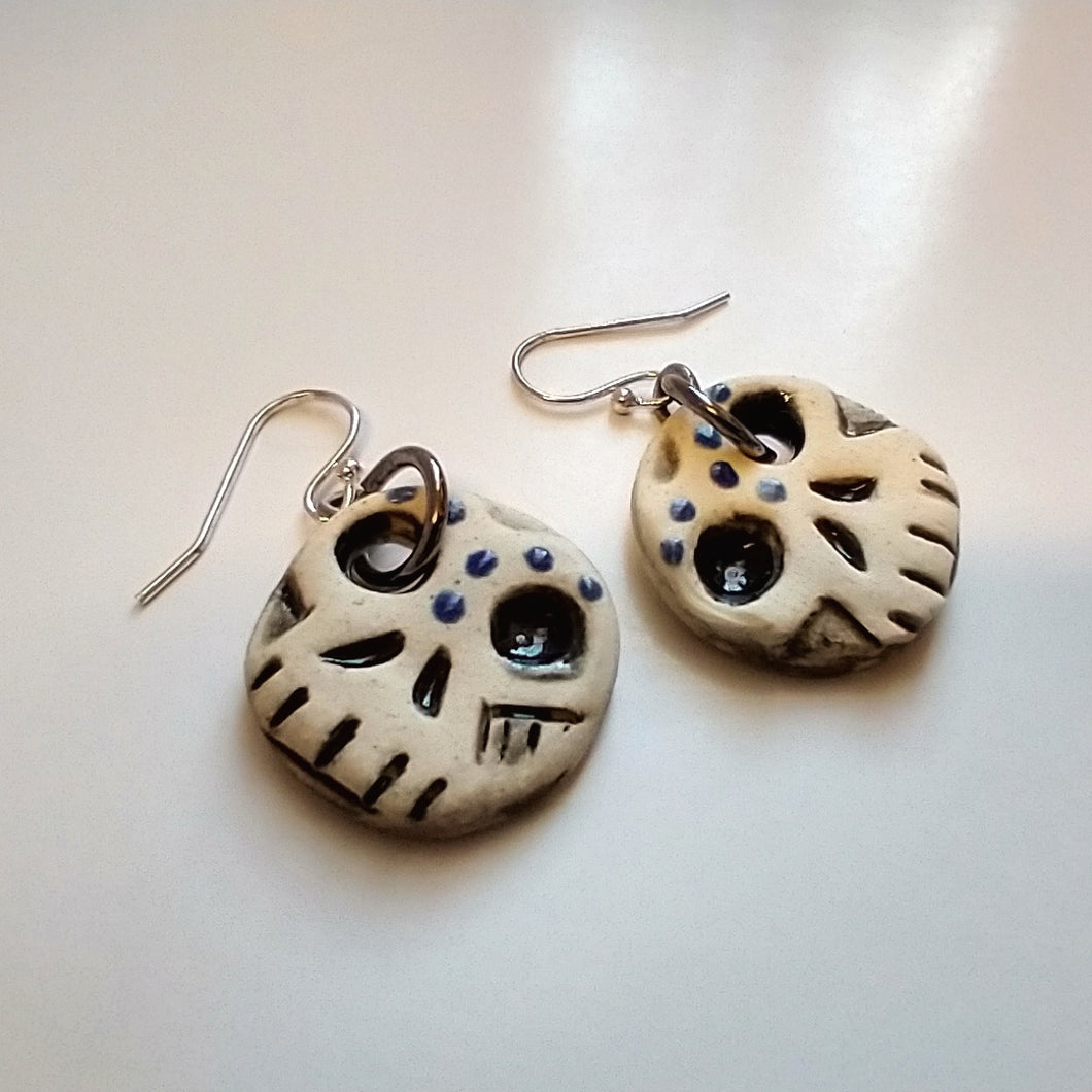 Day of the Dead Inspired Small Round Ceramic Skull Earrings