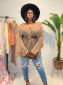 Taupe long sleeve cardigan