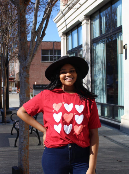 Red and white heart valentine t-shirt