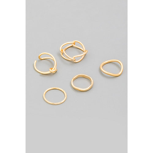 Metallic chain link wavy ring set