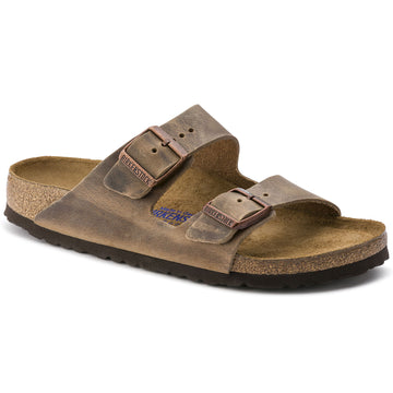 BIRKENSTOCK ARIZONA OILED NUBUCK LEATHER SOFT FOOTBED TOBACCO BROWN