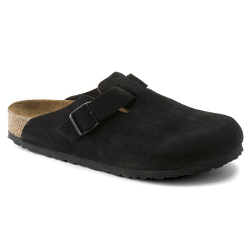 BIRKENSTOCK BOSTON SUEDE LEATHER SOFT FOOTBED BLACK 660471