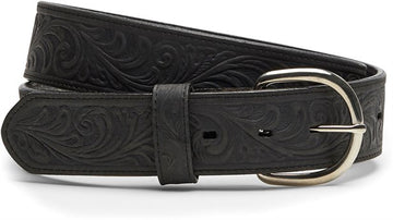 JUSTIN WESTERN SCROLL TOOLED BELT BLACK 53903