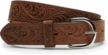 JUSTIN WESTERN SCROLL TOOLED BELT BROWN 53909