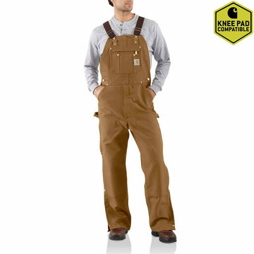 CARHARTT DUCK ZIP-TO-THIGH BIB OVERALL/UNLINED R37