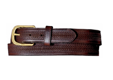 BRIGHTON OIL TAN EMBOSSED WITH STITCHING BELT BROWN 29707